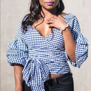 Tops - Navy Gingham Wrap Top